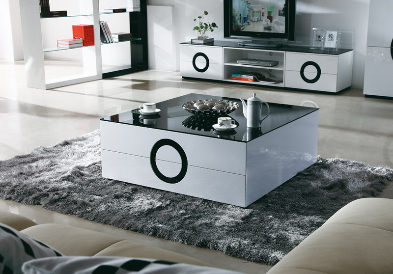 Vitt Kok Med Glasskiva : Soffbord Vit (svart glastopp) 105x105x39cm  Glossy Vit & Svart
