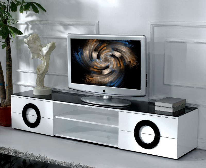 Underbar TV-bänk Vit (svart glastopp) 200x45x40cm - Glossy Vit & Svart XC-52